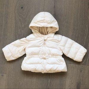GAP Girls White Winter Puffy Coat Size 6-12m